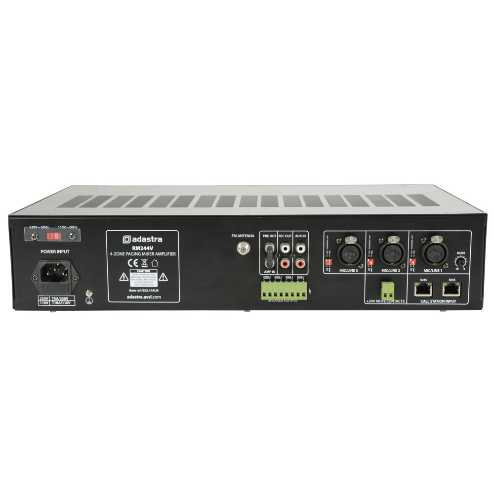Adastra RM244 100V Mixer Amplifier 4-zone Paging