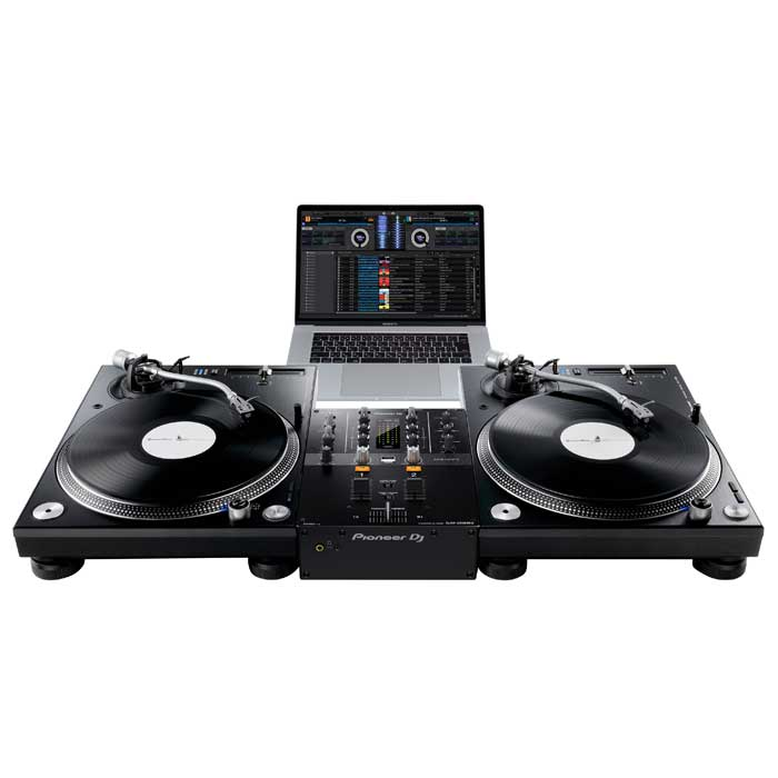 Set-up example. Turntables and laptop not included. - Pioneer DJM250 MK2 Mixer