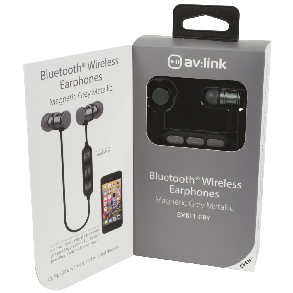 Earphones Grey Metallic Bluetooth av:link