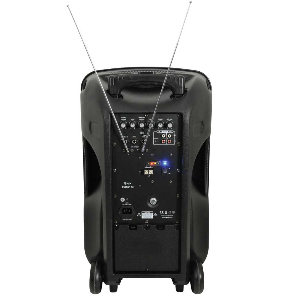 "QTX Portable 12"" Busker PA with BT, VHF Mics & Media Player"