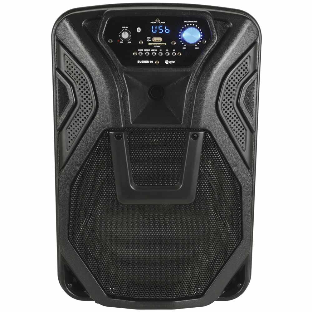 "QTX Portable 10"" Bluetooth Busker PA with VHF Mics, Media Player"