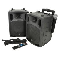 "QTX Portable Bluetooth PAV8 8"" Active Speaker Pair with DVD"