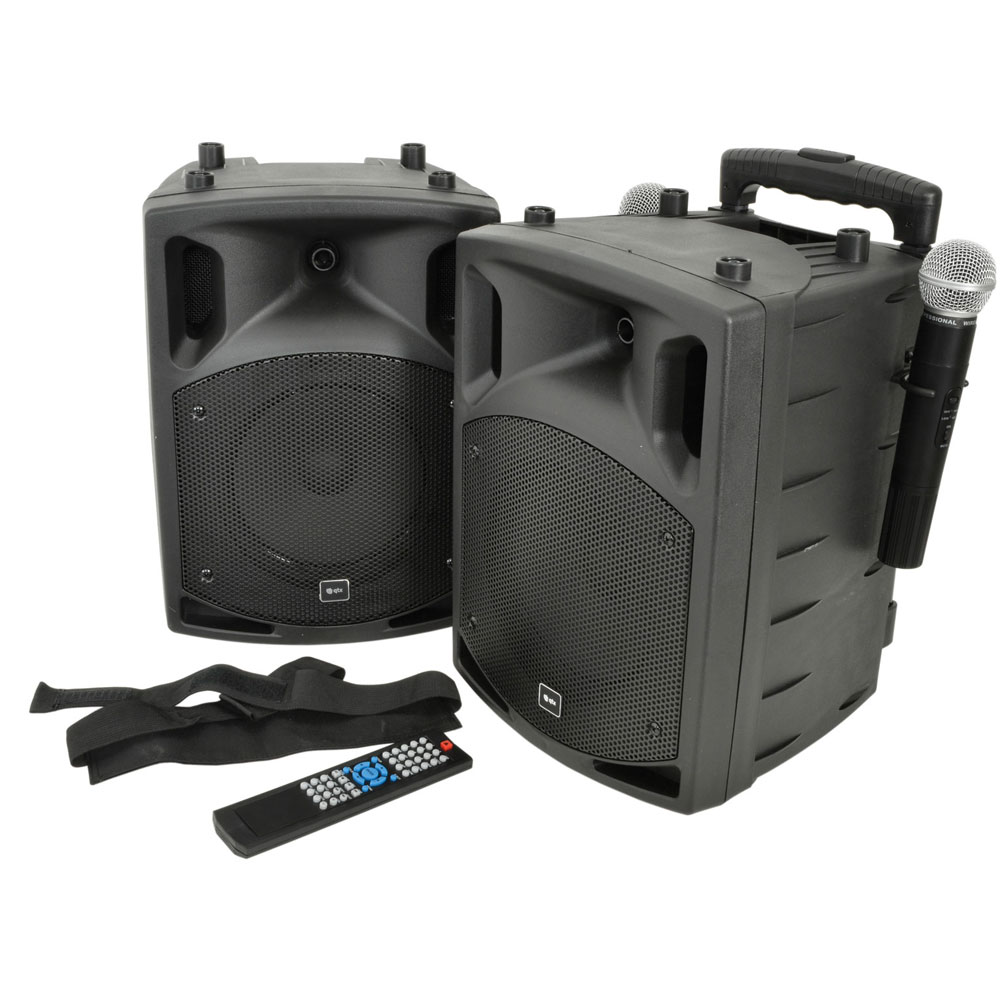 "QTX Portable Bluetooth PAV8 8"" Active Speaker Pair with DVD + UH"