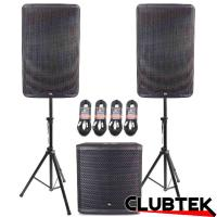 Pair of TEK Audio TEK15 speakers + TEK15S Free Stands and Cables