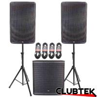 Pair of TEK Audio TEK15 speakers + TEK18S Free Stands and Cables