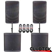 Pair of TEK Audio TEK15 speakers & TEK18S +Free Poles and Cables
