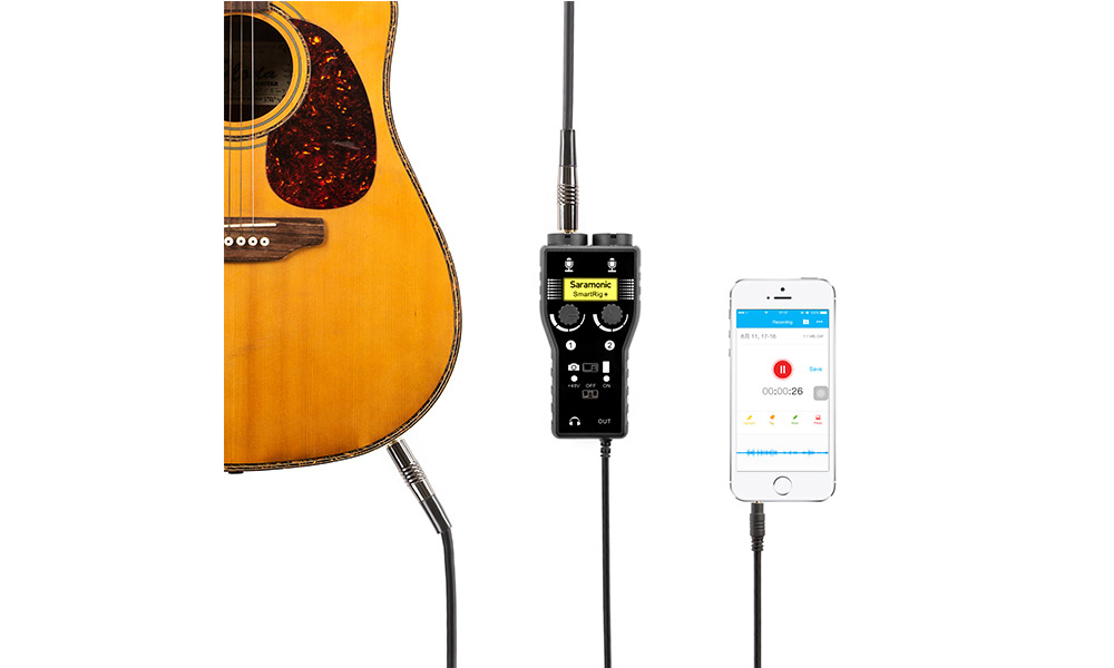 usage example - Smartrig+ 2-Channel Phone/Camera interface for Mics & Guitars