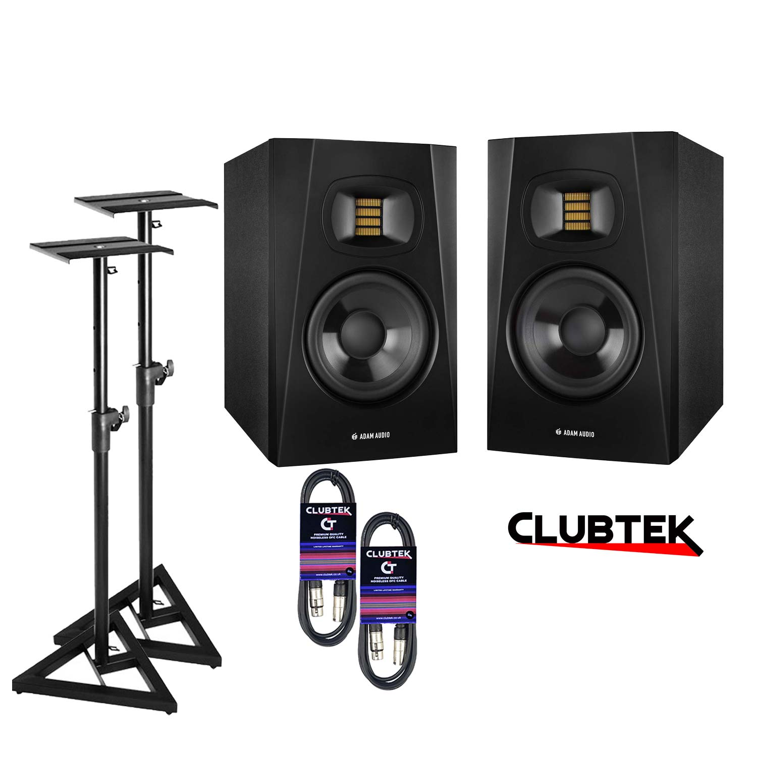 "Pair - Adam T5V 5"" Active Studio Monitor Speakers, Stands, Leads"
